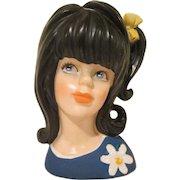 "Enesco Young Girl Lady Head Vase Long Black Hair 1960s 5"" tall"