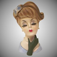 Lefton Sophisticated Lady with Updo and Hand Up Head Vase 6-1/2""