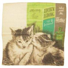 Vintage A Skandia Print Cats by Perfume Ads Hankie