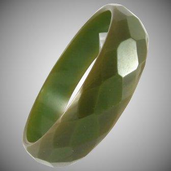 Olive Green Bakelite Faceted Bangle Bracelet