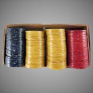 Original Box of Early Mottled Plastic Poker Chips