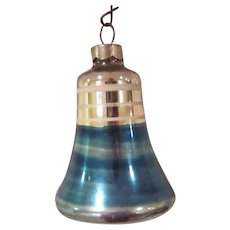 Vintage Blue and White Striped Shiny Brite Bell Glass Christmas Tree Ornament Larger Size