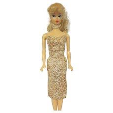 Vintage Barbie Dress Evening Splendor #961 Gold and White Brocade 1960s