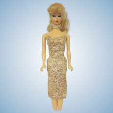 Vintage Barbie Dress Evening Splendor #961 Gold and White Brocade 1960s