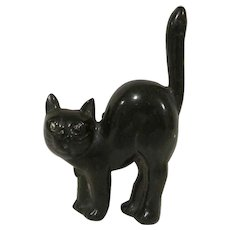 Vintage Made in Japan Hard Plastic Screech Black Cat Figure Halloween Decoration