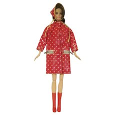 Vintage Francie #1255 Polka Dot 'N Raindrops Coat, Head Scarf, and Boots 1966 Outfit