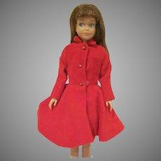Vintage 1963 Skipper Doll with Light Brown Hair, Velvet Dress, and Coat