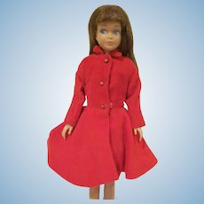 Vintage 1963 Skipper Doll with Light Brown Hair, Velvet Dress, and Coat