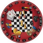 Vintage Tin Litho Games Theme Round Tray