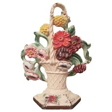 Original Hubley #204 Cast Iron  Basket of Dahlias Door Stop