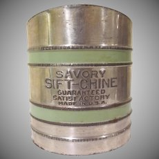 Vintage Tin Savory Sift-Chine Flour Sifter Made in U.S.A.