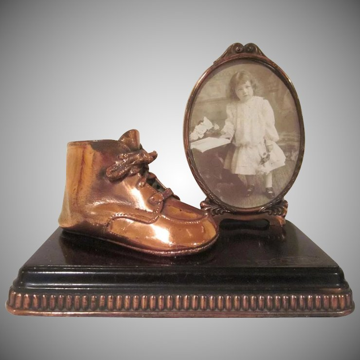Bronzed Baby Shoe with a Frame on a Base Keepsake : Milkweed ...