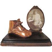 Bronzed Baby Shoe with a Frame on a Base Keepsake