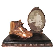 Bronzed Baby Shoe with a Frame on a Base Keepsake