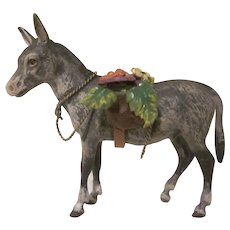 Vienna Austrian Bronze Cold Painted Donkey with Flowers Figurine