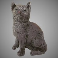 Heyde Germany Spelter Sitting Brown and  Gray Cat Figure