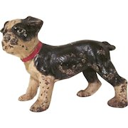 Vintage Hubley Cast Iron Boston Terrier Puppy Doorstop