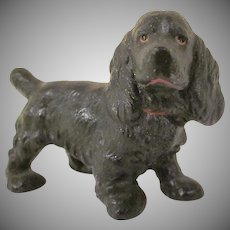 Vintage Hubley Cast Iron Black Cocker Spaniel Paperweight