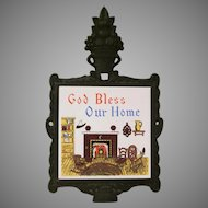 Mid Century Modern God Bless Our Home Cast Iron and Tile Trivet Japan