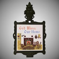 Mid Century Modern God Bless Our Home Cast Iron and Tile Trivet Japan