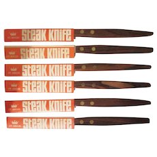 Group of 6 Mid Century Modern St. Regis Steak Knives with Sleeves