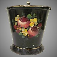 Vintage Tin Toleware Large Covered Container Cup Silent Butler Hand Painted with Crackle Finish