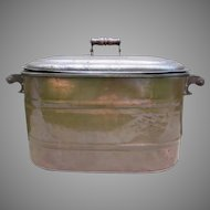 Vintage Copper with Tin Lid Wash Boiler with Wooden Handles