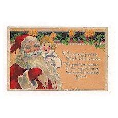 'A Christmas Greeting' Santa & Child Postcard Not Used