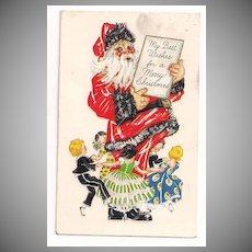 Santa holds a Card with Children Dancing Around Him Postcard