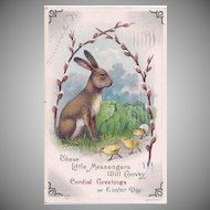 Vintage Three Little Messengers . . . Easter Postcard 1914