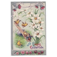 Vintage A Happy Eastertide Chicks on a Seesaw Postcard