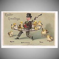 'Easter Greetings' Boy with Chicks and Glitter Postcard 1910