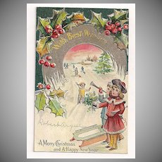 'With Best Wishes - A Merry Christmas . . .' Kids Play in Snow Postcard 1910