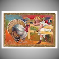 'Thanksgiving Greeting' Girl Feeds Turkey Corn Through the Fence Postcard 1909