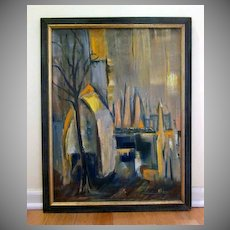 Mid Century Modern Abstract City Scene Oil Painting