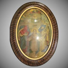 Early Marbled Oval Wooden Frame with Convex Glass with an Early Religious Print