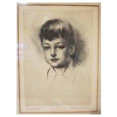 Listed Artist Arthur William Heinztelman Young Boy Demonstration Etching 1940 Marblehead