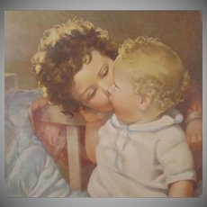 Lithograph Print Devotion Two Little Children by Annie Benson Muller 19 x 16