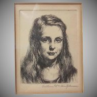 Listed Artist Arthur William Heinztelman Young Girl Etching