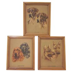 Group of Three Mabel Gear Two Dimensional Dog Prints
