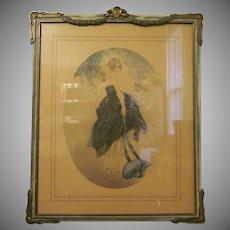 Vintage Louis Icart Print Lithograph Le Bonnet Bleu in a Beautiful Frame