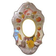 Early Mirrored Plaque Frame with Reversed Hand Painted Flowers and a Print of Jesus
