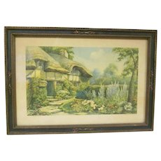 Vintage Maud Humphrey Framed Print Thatched Cottage No. 8060