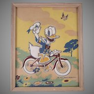 Walt Disney Productions Donald Duck Riding a Bike Framed Picture