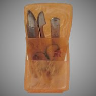 Celluloid 1930s Miniature Manicure Set with Travel Case