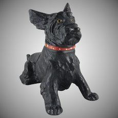 Figural Cast Metal Scottie Pipe Rest and Ash Tray