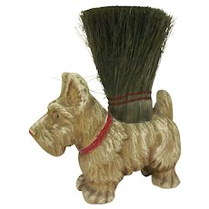 Vintage Composite Syrocco Wood Figural Scottie Brush by Nifty