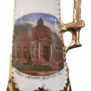 Made in Germany Belfast, Maine Souvenir Pitcher Showing the Public Library