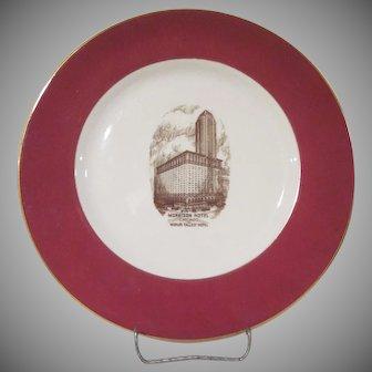 """Shenango China Morrison Hotel Chicago 10-1/2"""" Plate"""