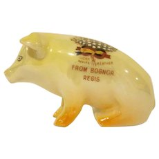Vintage Lucky White Heather Bognor Regis Sitting Pig Figurine Souvenir